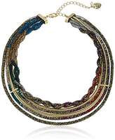 "Betsey Johnson Confetti"" Mixed Multi-Colored Stone Filled Mesh Multi Row Necklace"