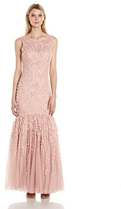JS Collections Women's Embroidered Metallic Ribbon Gown