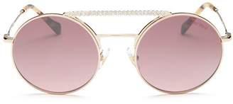 Miu Miu Women's Crystal Brow Bar Round Sunglasses, 55mm