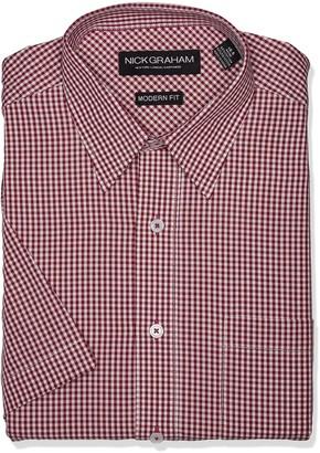 Nick Graham Men's Modern Fit Gingham Point Collar Short Sleeve Dress Shirt