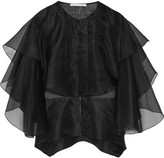 Antonio Berardi Layered Silk-organza Top - Black