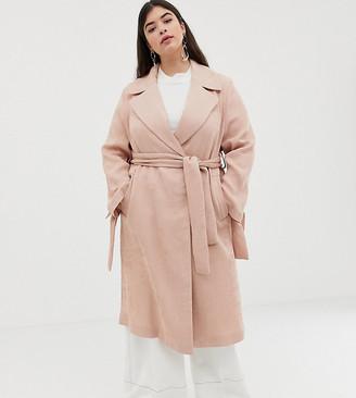 ASOS DESIGN Curve plisse textured coat