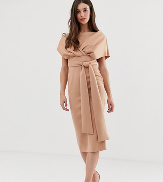 Asos Tall DESIGN Tall fallen shoulder midi pencil dress with tie detail-Black