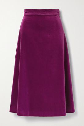 ARoss Girl x Soler Alma Cotton-velvet Midi Skirt - Violet