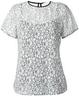 MICHAEL Michael Kors lace T-shirt - women - Cotton/Nylon/Polyester/Viscose - S