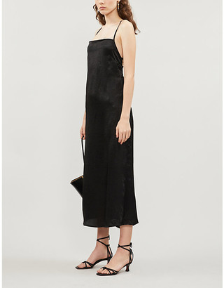 NEVER FULLY DRESSED Kate abstract-print satin-twill midi dress