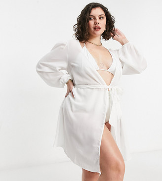 ASOS DESIGN curve chiffon belted beach kimono in white