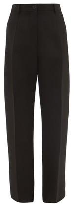 Jil Sander High-rise Slubbed-crepe Trousers - Black