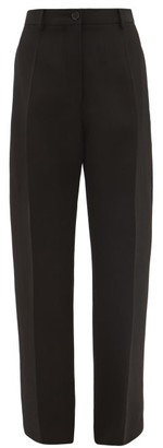 Jil Sander High-rise Slubbed-crepe Trousers - Womens - Black