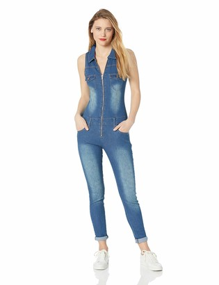 Cover Girl Women's Size Denim Biker Skinny Long Jumpsuit Overalls Sexy Zip Up Sleeveless