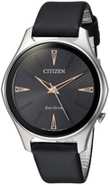 Citizen Women's Modena Eco-Drive Black Leather Watch, 36mm