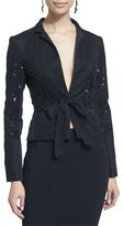 Oscar de la Renta Self-Tie Embellished Jacket, Black