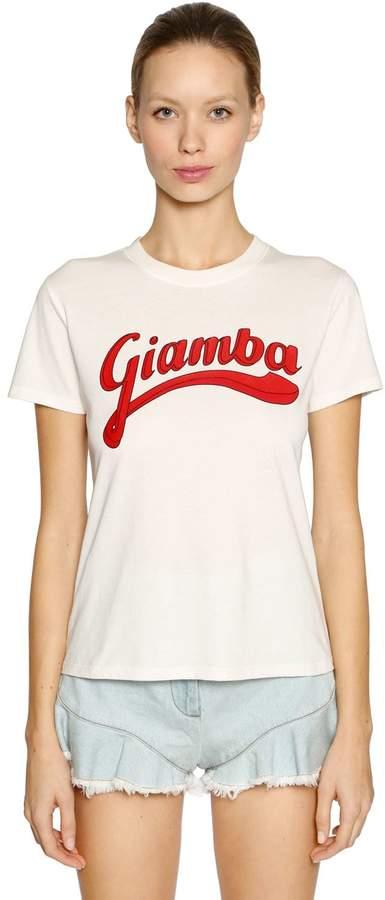 Giamba Logo Printed Cotton Jersey T-Shirt