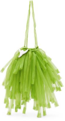 Paula Canovas Del Vas Green Organza Mini Fringe Bag