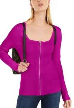 INC International Concepts Inc Square Neck Zip-Front Sweater, Created for Macy's