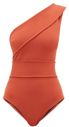 Haight Maria One-shoulder Stretch-crepe Swimsuit - Womens - Dark Orange