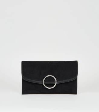 New Look Suedette Diamante Ring Clutch Bag