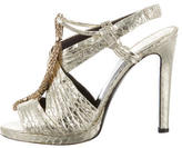 Roberto Cavalli Metallic Embossed Sandals