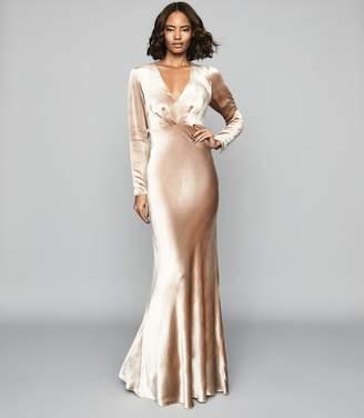 Reiss Klara - Velvet Plunge Neckline Maxi Dress in Gold