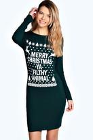 Boohoo Emma Filthy Animal Christmas Bodycon Dress