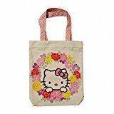 Hello Kitty Goshiki Hanpudo Cotton Canvas Tote Bag Flower Circle Design by