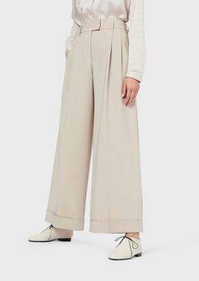 Giorgio Armani Wide Trousers With Stretch Cady Darts