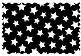Camilla And Marc SheetWorld Primary Stars White On Black Woven Fabric - By The Yard - 101.6 cm (44 inches)