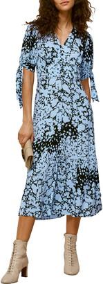 Whistles Neave Brushed Animal Print Midi Dress