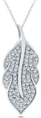 Cali Trove 1/6 Ct Round Diamond Leaf Pendant Fashion Necklace in Sterling Silver. - White