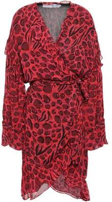 IRO Linger Ruffled Leopard-print Chiffon Mini Wrap Dress