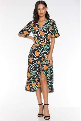 Quiz Black Dalmatian Print Floral Midi Dress