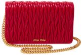 Miu Miu Matelass Leather Wallet On A Chain
