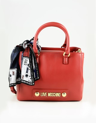 Love Moschino Red Eco Leather Scarf Sat Top-Handles Bag