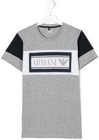Armani Junior logo print T-shirt - kids - Cotton - 14 yrs