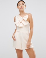 Asos Premium One Shoulder Bow Romper