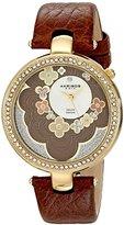 Akribos XXIV Women's AK601BR Lady Diamond Flower Dial Swiss Quartz Leather Strap Watch