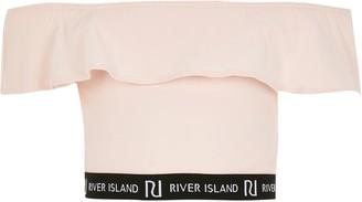 River Island Girls Pink RI frill bardot crop top