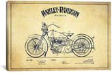 iCanvas Harley-Davidson Vintage Patent Blueprint Canvas Art