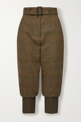 Purdey - Cropped Belted Cotton-trimmed Checked Wool-tweed Tapered Pants - Army green