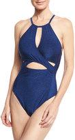 LaBlanca La Blanca Midnight Rain High-Neck Cutout One-Piece Swimsuit, Blue