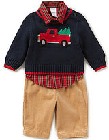 Starting Out Baby Boys 3-24 Months Christmas Tree and Fire Truck 3-Piece Sweater Set
