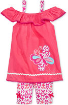 Nannette 2-Pc. Off-The-Shoulder Butterfly Top and Shorts Set, Toddler and Little Girls (2T-6X)