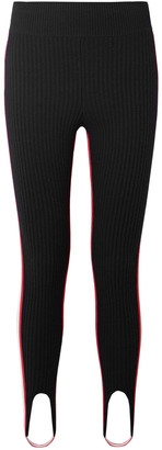 Calvin Klein Ribbed Striped Wool-blend Stirrup Leggings