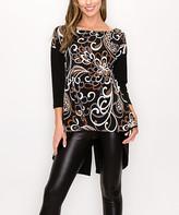 Lbisse Women's Tunics Black - Black & Gray Abstract Hi-Low Dolman Tunic - Women & Plus