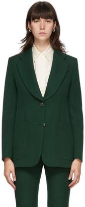 Victoria Beckham Green Wool Gabardine Blazer