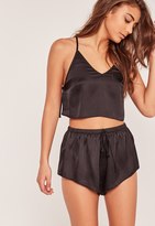 Missguided Black back detail cami pyjama set