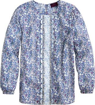 J.Crew Liberty(R) Mix Floral Long Sleeve Scallop Blouse