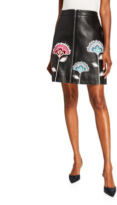 Carolina Herrera Floral-Embroidered A-Line Leather Skirt