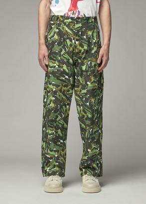 Marni Men's Printed Trouser Pants in Dark Olive Size 46 100% Cotton