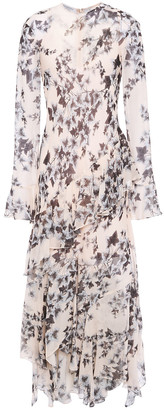 Philosophy di Lorenzo Serafini Asymmetric Ruffled Floral-print Chiffon Midi Dress